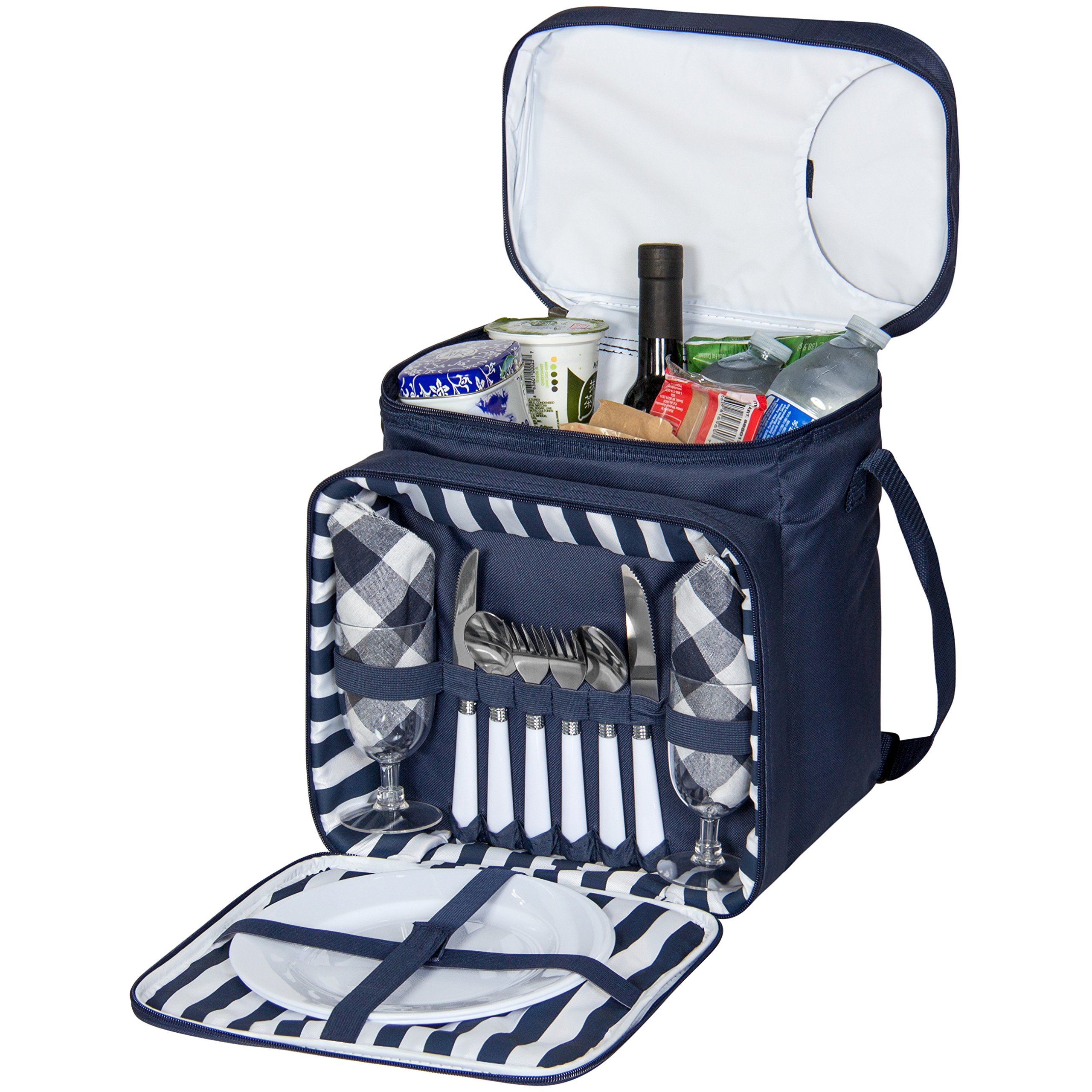 Best Choice Products 2-Person Insulated Picnic Bag Lunch Tote w/Flatware, Plates, Silverware - Blue