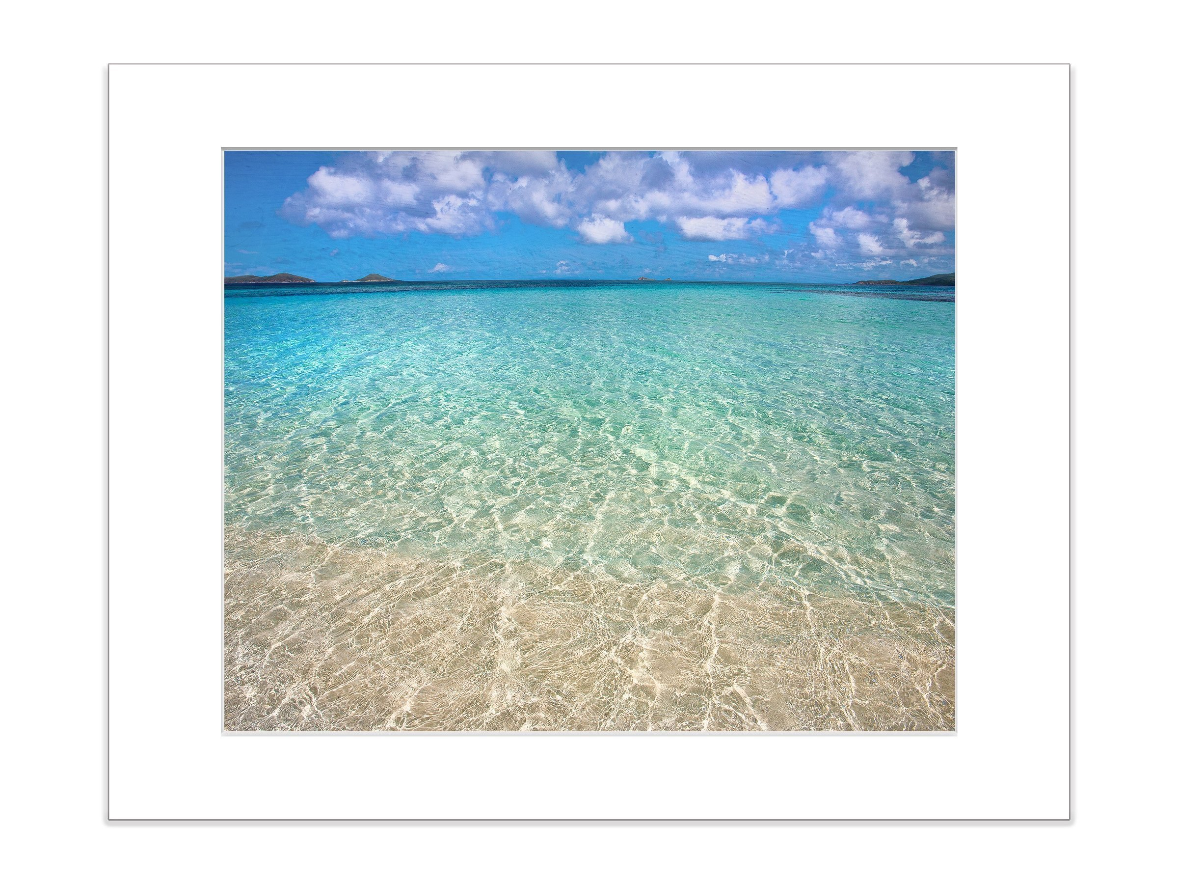 Island Beach Photography 5x7 Inch Matted Art Print Coastal Water by Catch A Star Fine Art Photography