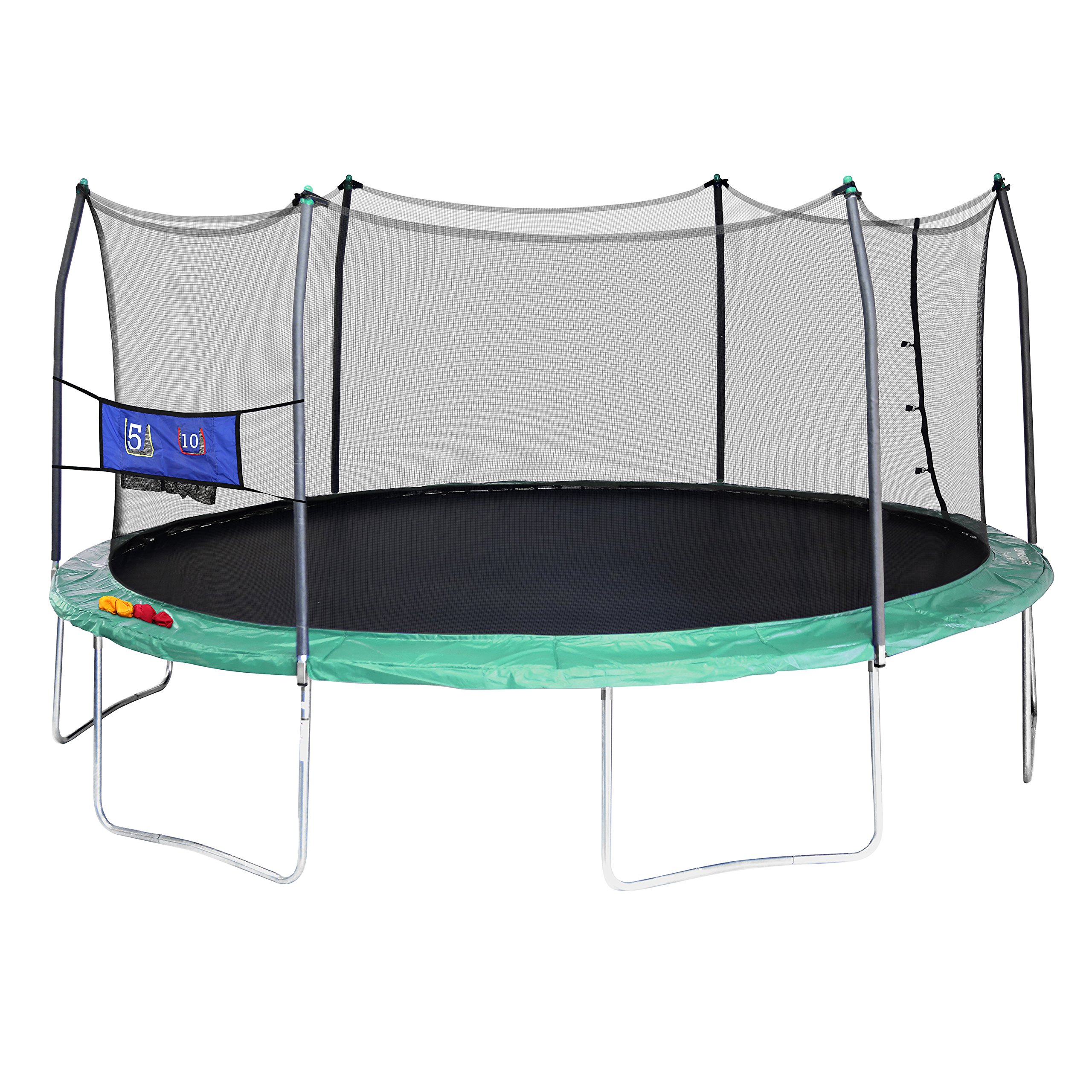 Skywalker Trampolines Oval Trampoline with Enclosure and Double Toss Game, Green, 16' by Skywalker Trampolines