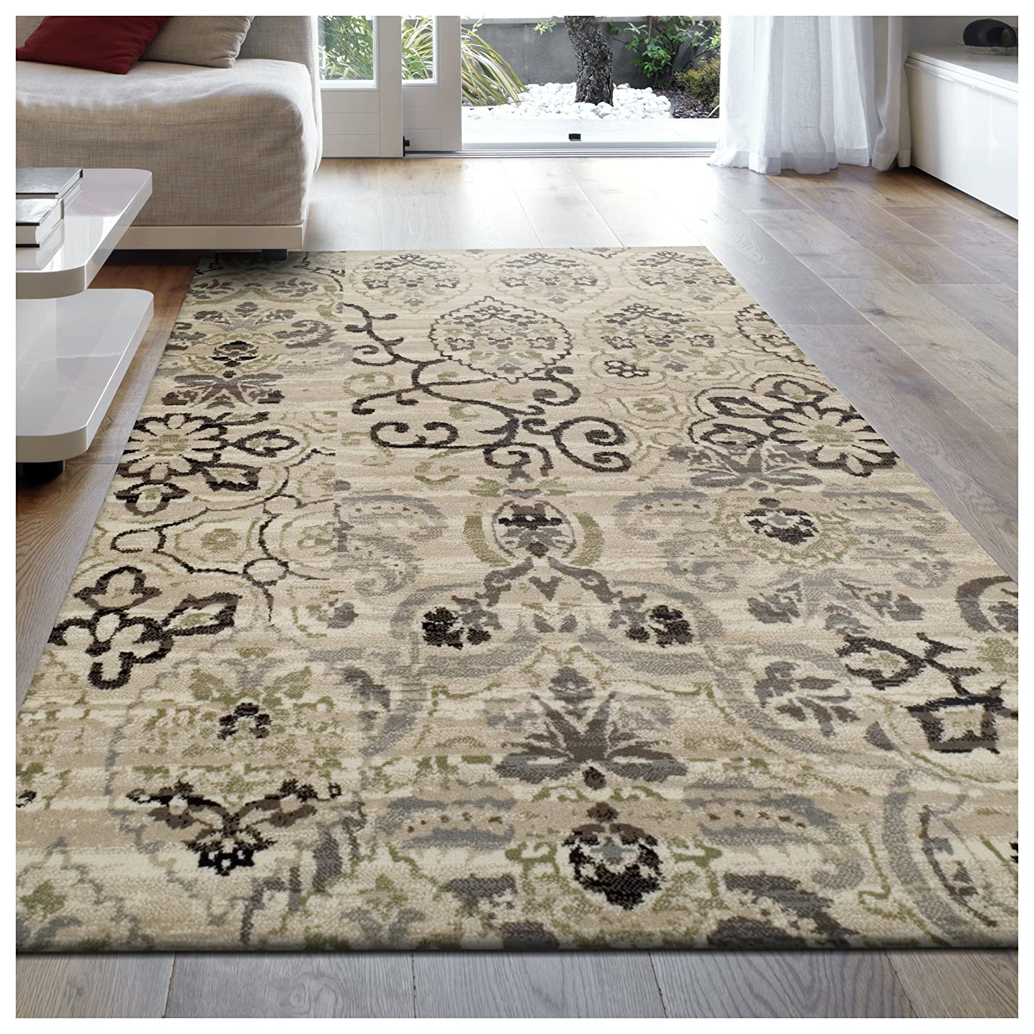 Superior 8mm Pile Height with Jute Backing, Gorgeous Patchworked Damask Design, Fashionable and Affordable Woven Rugs, 5' x 8' Rug, Beige