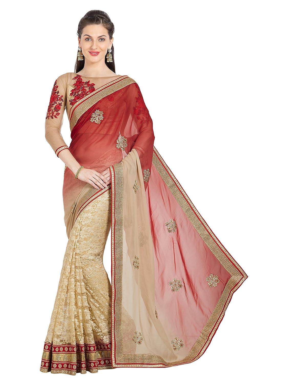 3c2fd743907abc Saree Color :- * Rust & Cream * , Blouse Color :- * Copper * Saree Fabric  :- * Georgette + Brasso Net * , Blouse Fabric :- * Brocade + Net * Saree  Work ...