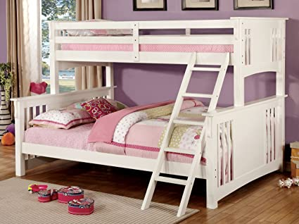 Amazon Com Furniture Of America Denny Twinxl Queen Bunk Bed White
