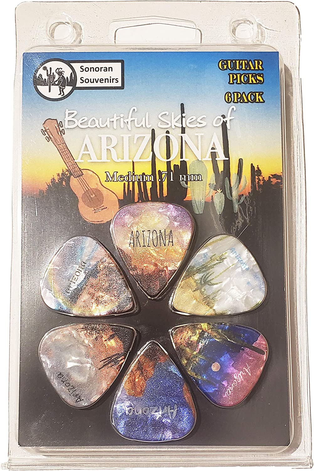 ARIZONA Souvenir Gift Guitar Picks 6 Pack Medium 0.71mm Skys of AZ Assorted Designs Perfect Gift For Guitarist For Acoustic Electric and Bass Guitars