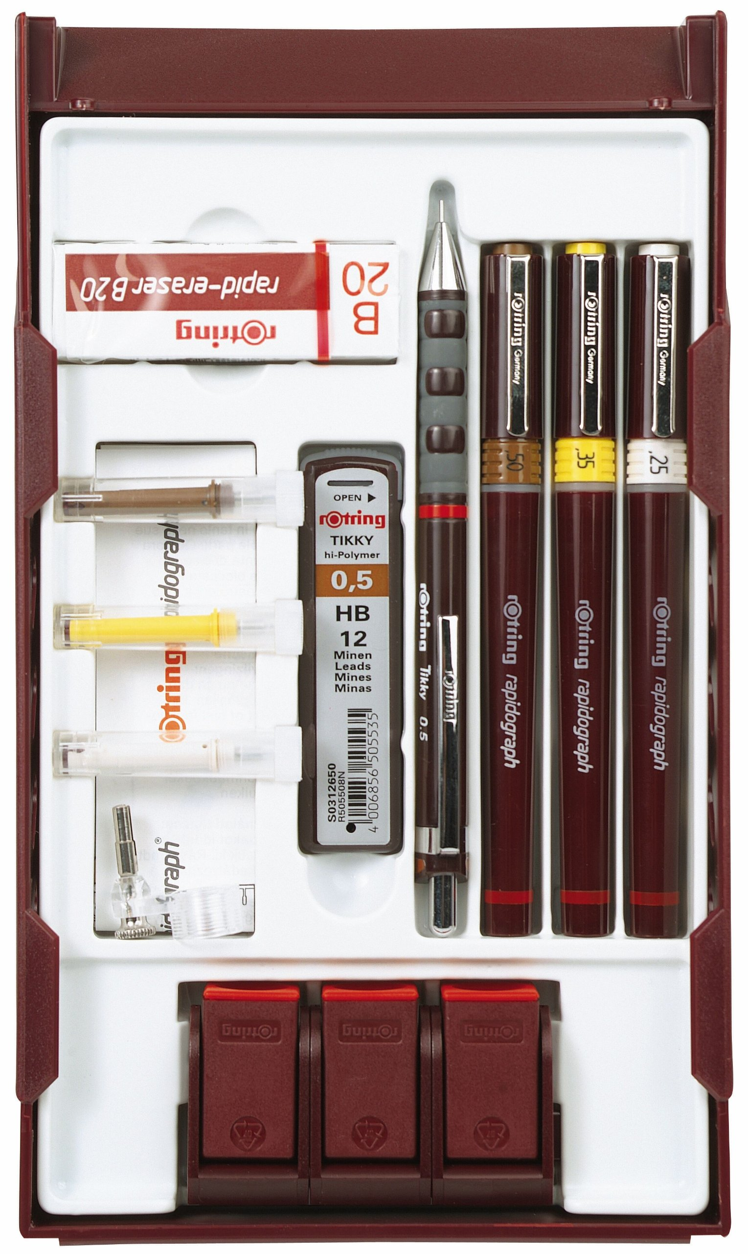 rOtring Rapidograph Technical Drawing Pen College Pen Station Set, 3 Pens with Line Widths of 0.25mm to 0.5mm, Brown (S0699530)