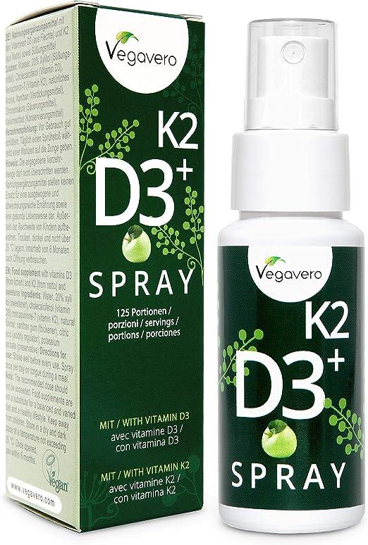 Vitamina D3 + K2 Spray Vegavero® | 100% Vegano | Sabor Manzana | Rápida Absorción | Testado en Laboratorio | 125 Pulverizaciones | Calcio + Huesos* | ...