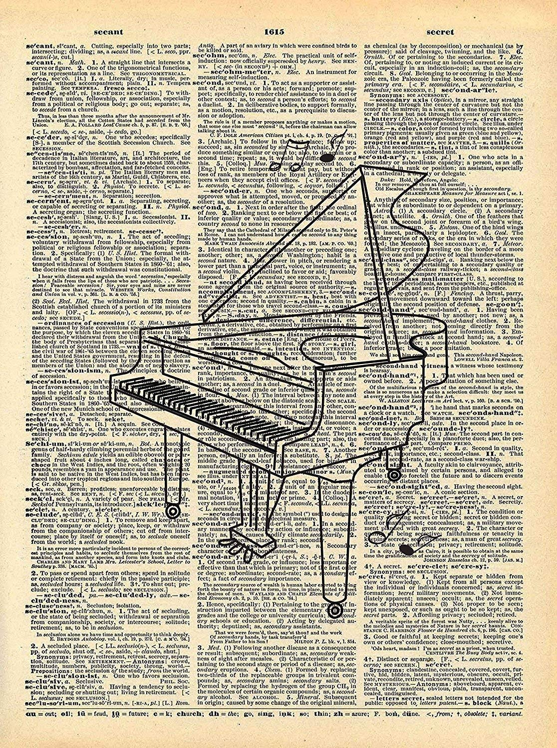 Dictionary Print, Piano Sketch Musical Instrument Vintage Dictionary Art Print 8x10 inch Home Vintage Art for Home Decor Wall Decorations For Living Room Bedroom Office Ready-to-Frame