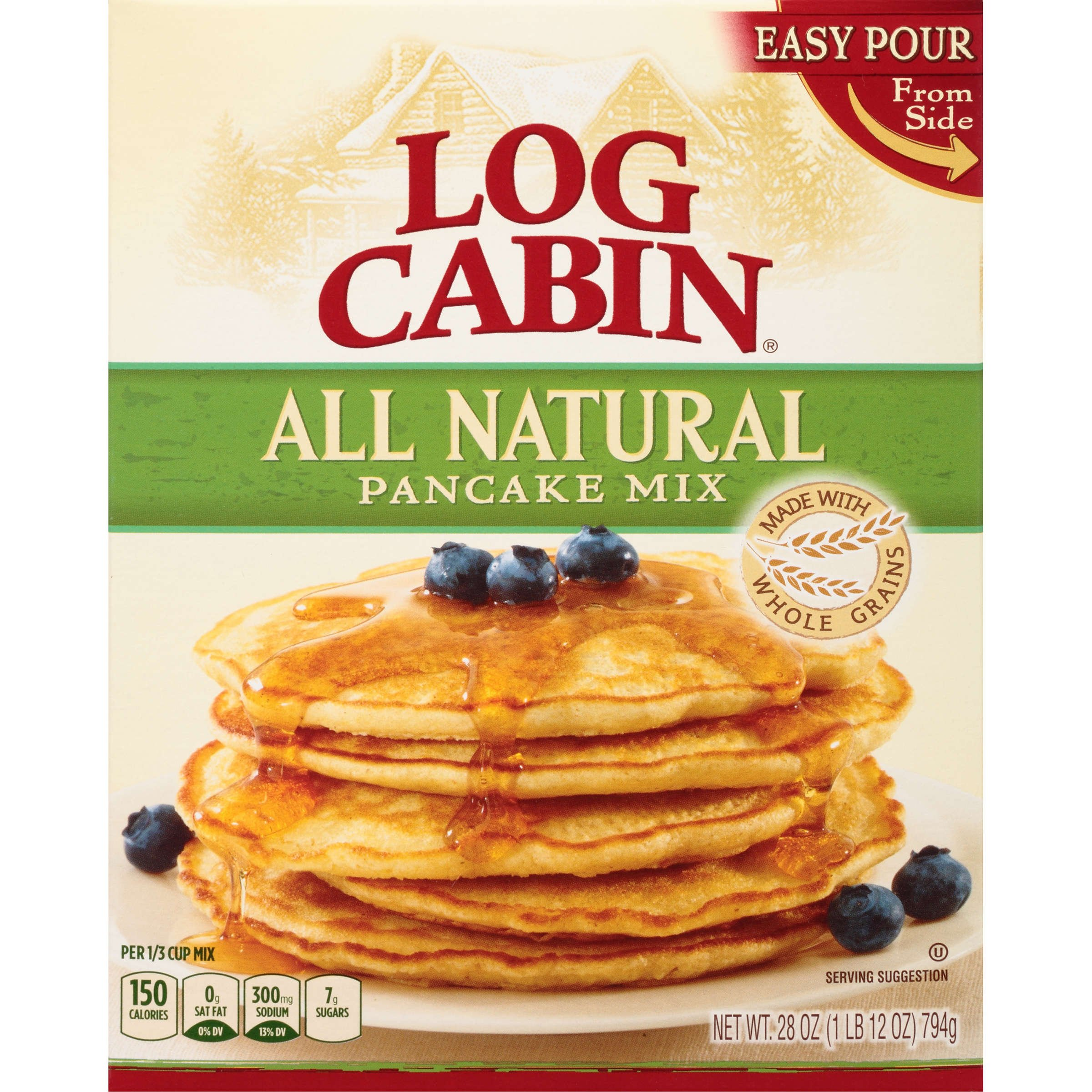 Log Cabin All Natural Pancake Mix, 28 Ounce (Pack of 12)