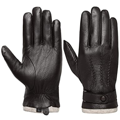 9170698d3ad28 Image Unavailable. Image not available for. Colour: Men's Touchscreen  Genuine Leather Gloves - Acdyion Cashmere Lining ...