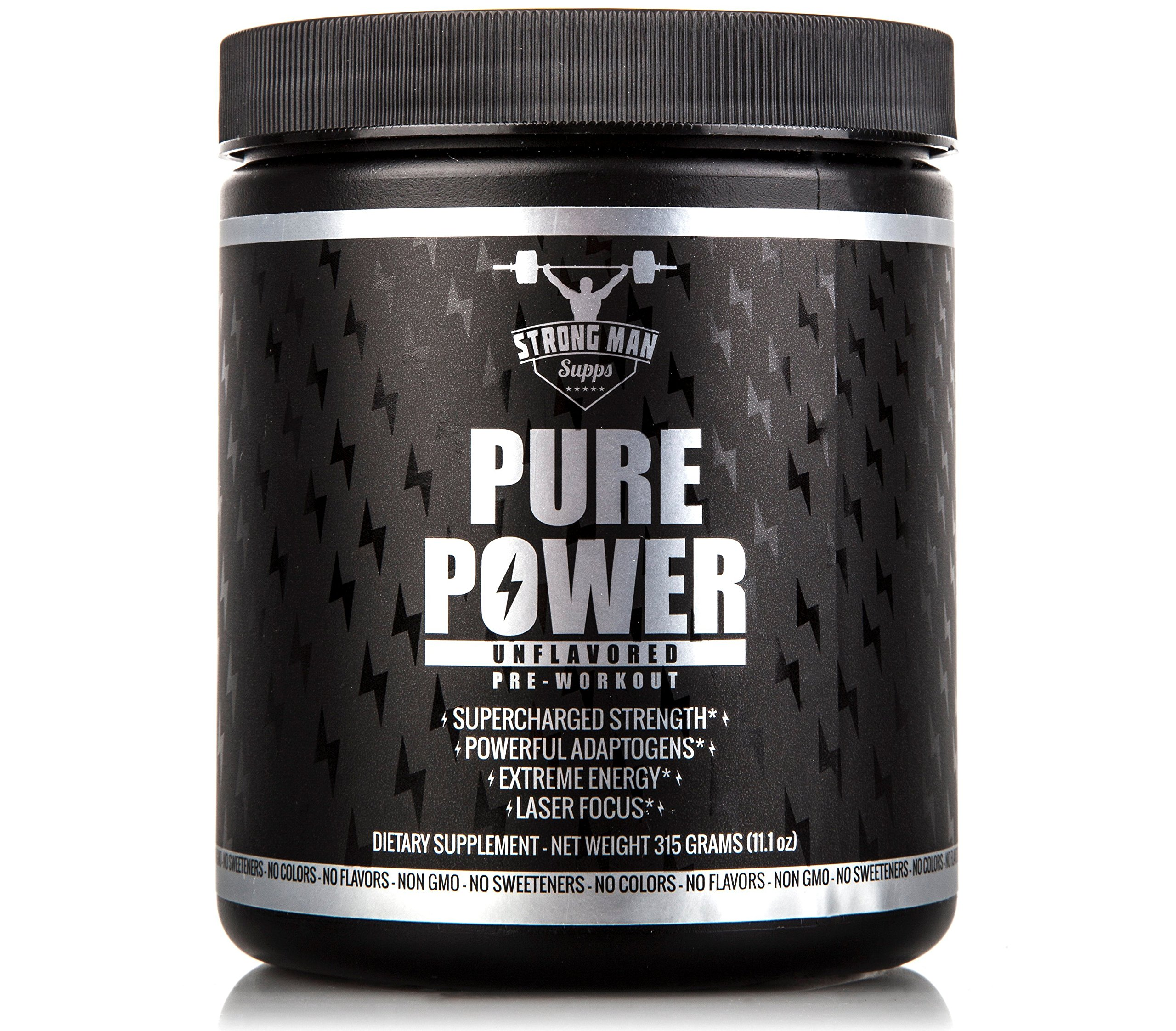 Pure Power PRE Workout, TOP All Natural PREWORKOUT Powder Supplement, Healthy Clean Vegan Paleo Friendly Non GMO Pre-Workout, Plant Powered Energy & Pump + Video on Super Strength (Unflavored) 315g