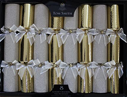 tom smith luxury gold christmas crackers pack of 8 each containing a distinctive