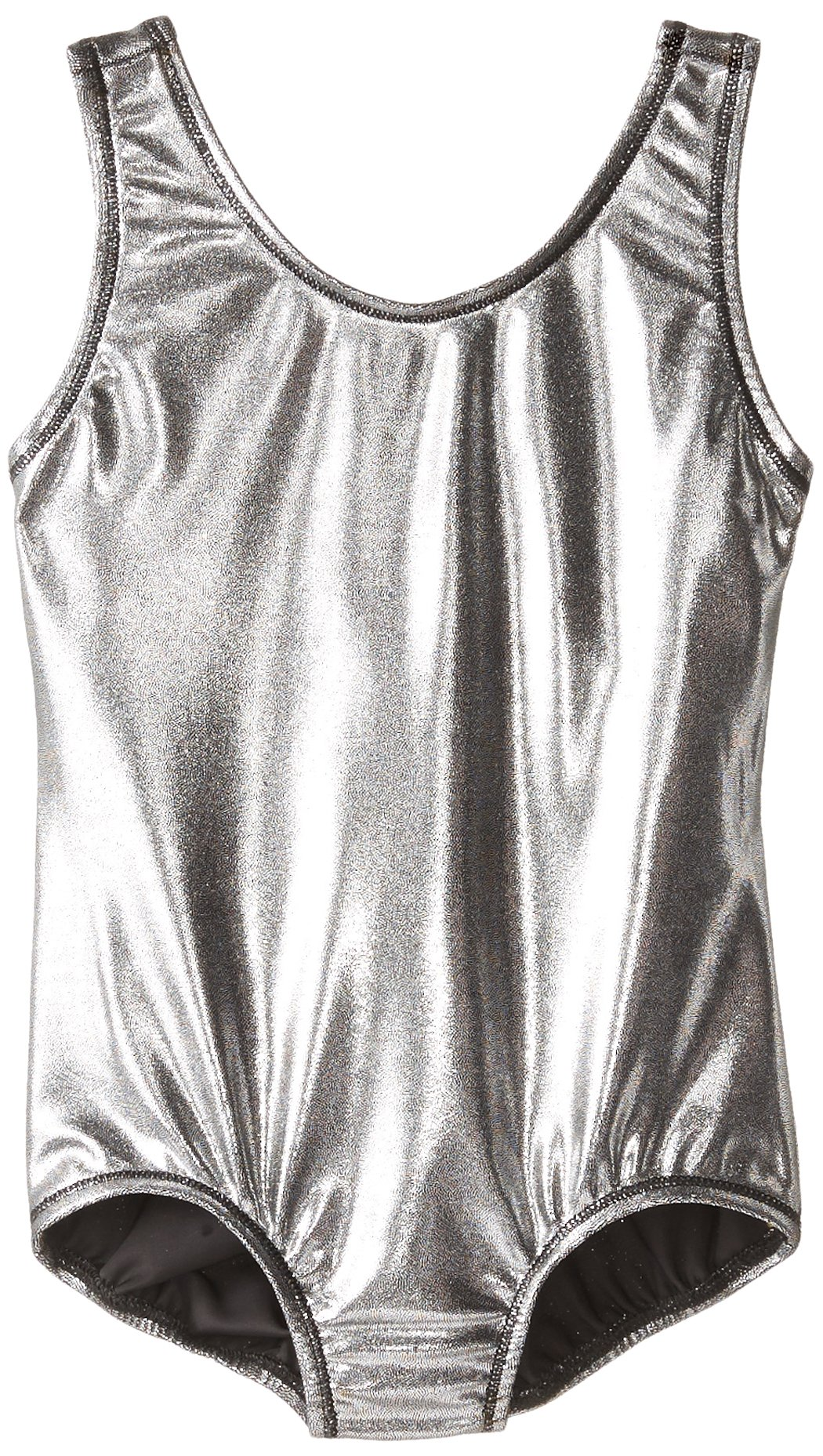Danskin Little Girls' Gymnastics Solid Sparkle Leotard,Black/Silver,Small (4/6)
