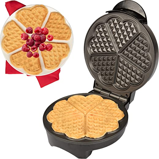Heart Waffle Maker- Non-Stick Waffle Griddle Iron with Browning Control- 5 Heart-Shaped Waffles