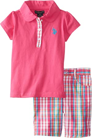 Girls Floral Fashion Top and Bermuda Short Set Polo Assn U.S