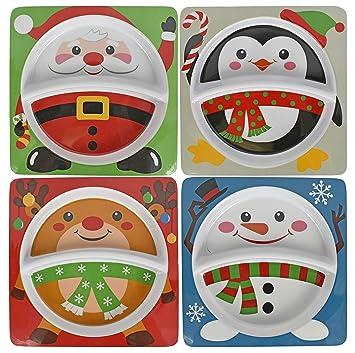 Set of 4 - 8u0026quot;x8u0026quot; Kidu0027s Christmas Dinnerware 2 Sectioned Plates - Snowman  sc 1 st  Amazon.com & Amazon.com | Set of 4 - 8