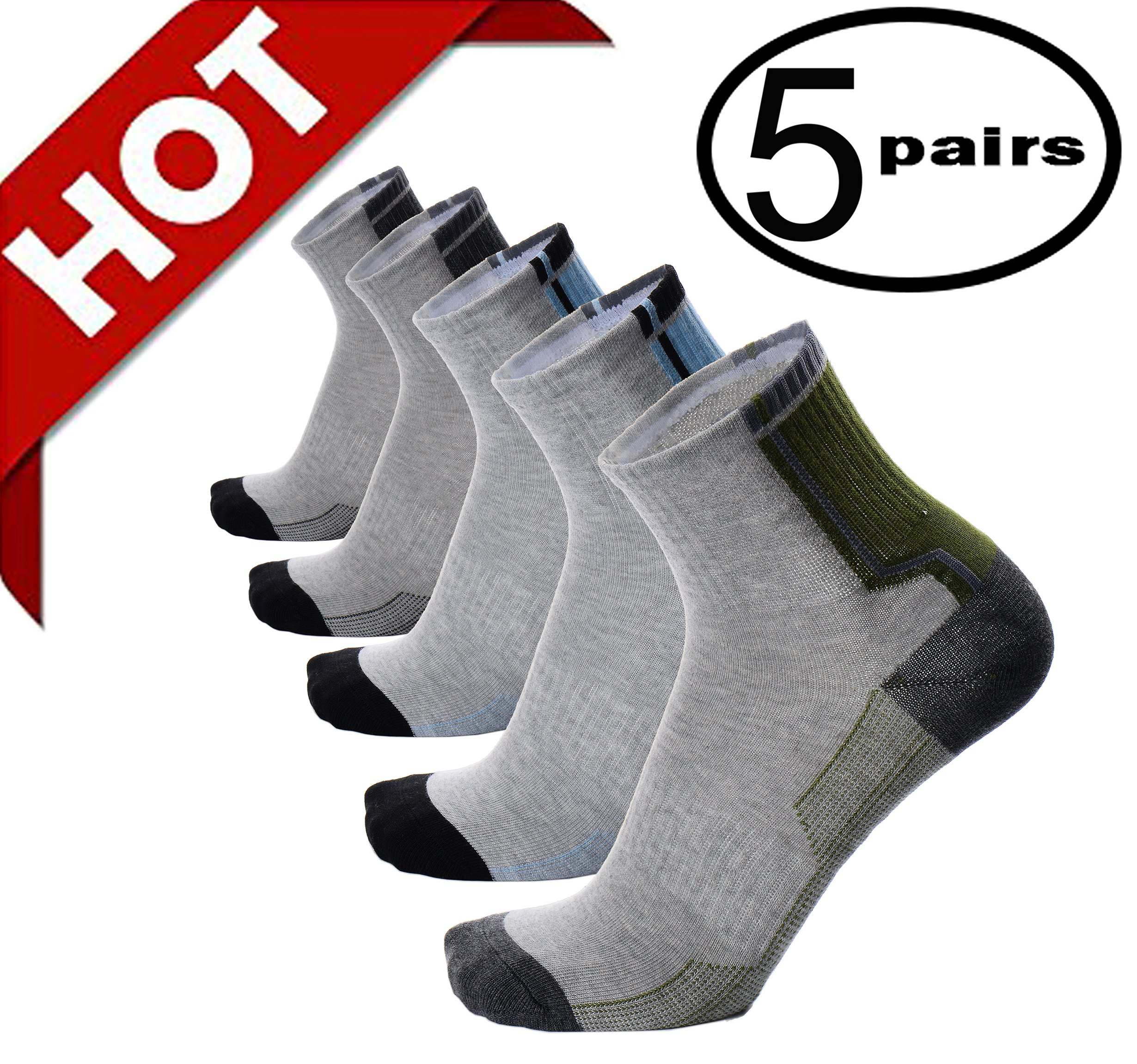 Mens Boys Athletic Sports Compression Cotton Low Cut Quarter Summer Ankle Grey Socks