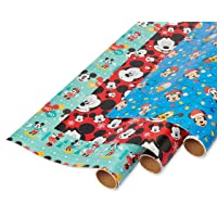 American Greetings Christmas Wrapping Paper with Gridlines, Mickey Mouse Designs (3 Pack, 105 sq. ft.)
