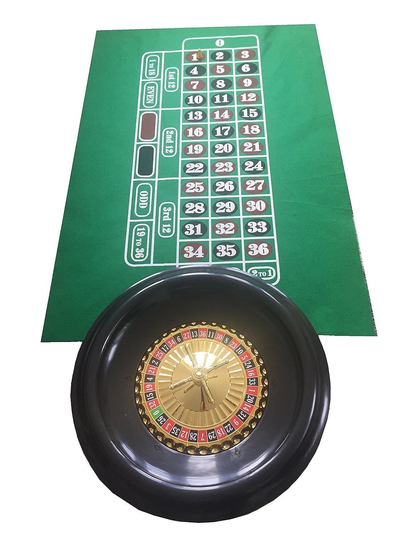 40cm riesiges Roulette-Rad mit Kugeln auf grüner Spielfläche aus Filz und Gewinnmarkierung Start Spreading the News Ltd
