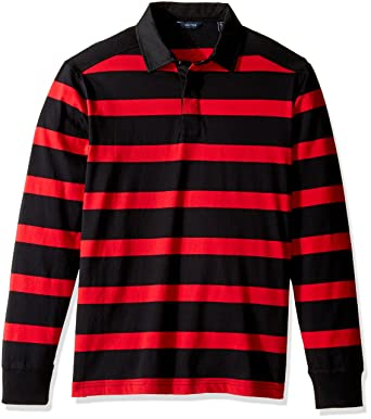 585816a7 Nautica Men's Long Sleeve Striped Polo Shirt, True Black, Small at Amazon  Men's Clothing store: