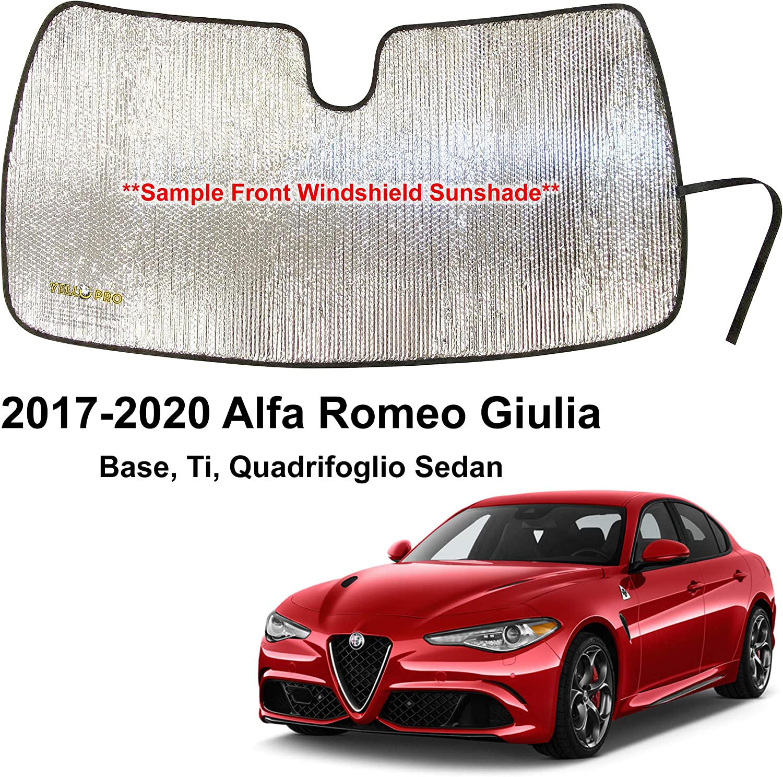YelloPro Custom Fit Automotive Reflective Front Windshield Sunshade Accessories UV Reflector Sun Protection for 2017 2018 2019 2020 Alfa Romeo Giulia Base, Ti, Quadrifoglio Sedan