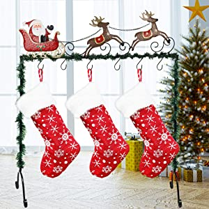 Juegoal Deluxe Metal Stand Christmas Stocking Holder, Standing Christmas Stocking Hangers, Santa Claus and Reindeers X-mas Stockings Hanger in Black Color