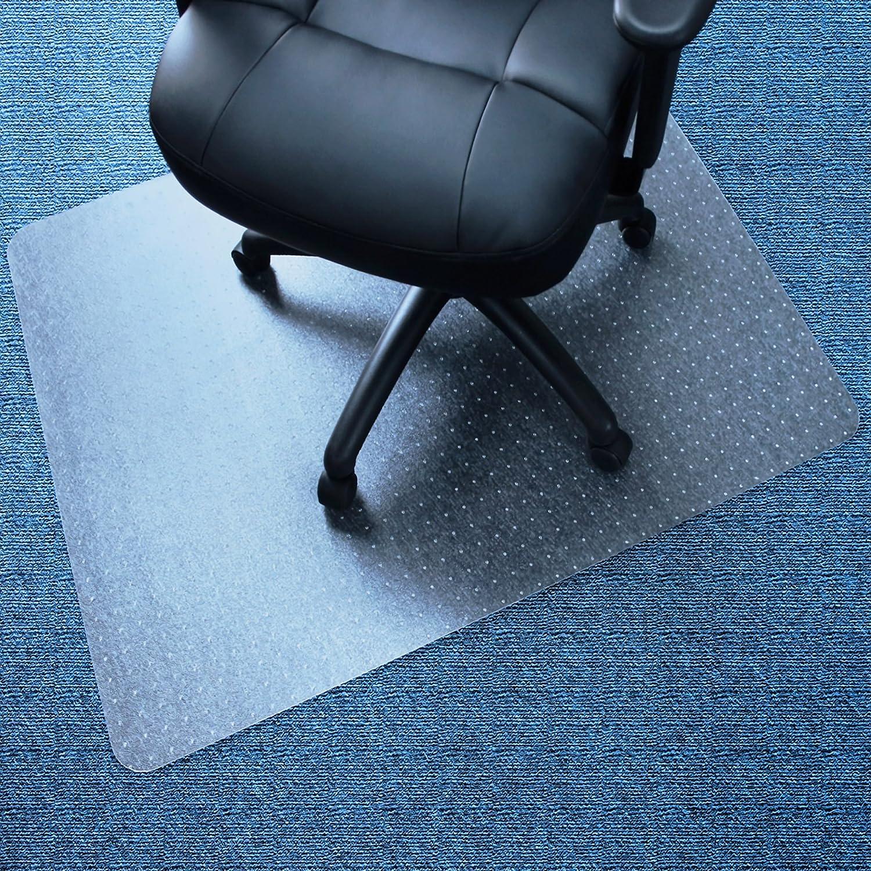"Marvelux 45"" x 53"" Vinyl (PVC) Rectangular Chair Mat for Very Low Pile Carpets | Transparent Carpet Protector | Multiple Sizes"