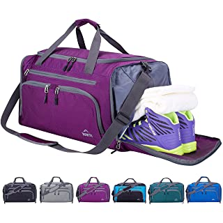 """Venture Pal 20"""" Packable Sports Gym Bag with Wet Pocket & Shoes Compartment Travel Duffel Bag for Men and Women-Purple"""