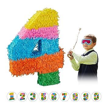 Relaxdays- Piñata Cumpleaños Número 4 sin Relleno, Papel,, 50,5 x 35,5 x 7,5 cm (10025189_906)