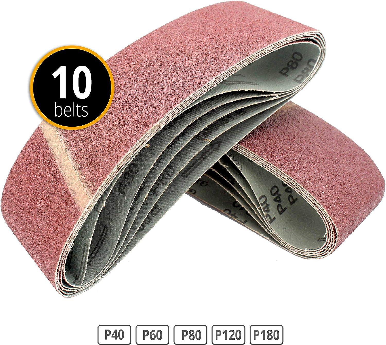 grano 40//60//80//120//180 75 x 457 mm 10 bandas de lija de tela lijadoras de banda rojo
