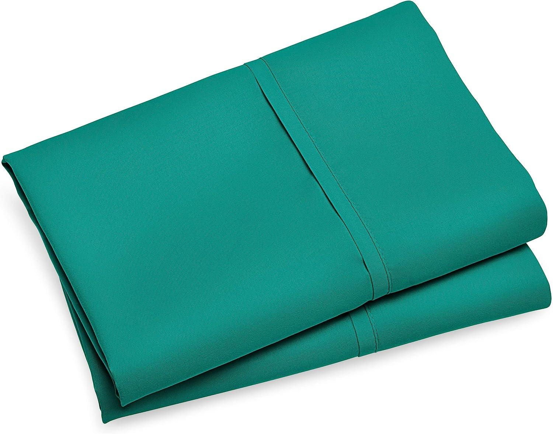 Double Brushed Bare Home Premium 1800 Ultra-Soft Kids Microfiber Pillowcase Set Standard Pillowcase Set of 2, Emerald Hypoallergenic Wrinkle Resistant