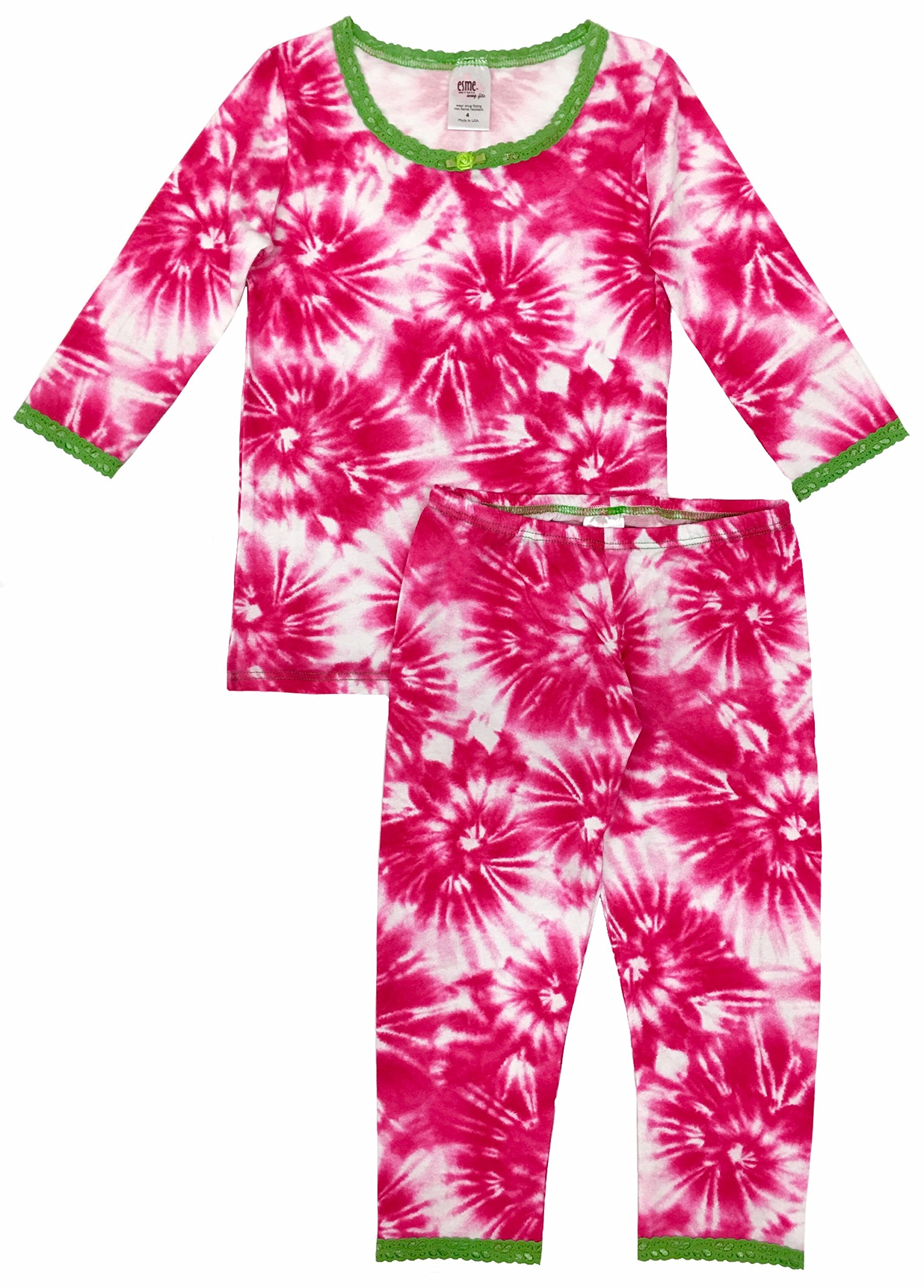 Esme Girl's Sleepwear 3/4 Long Sleeve Top Leggings Set-8 Fuchsia Burst