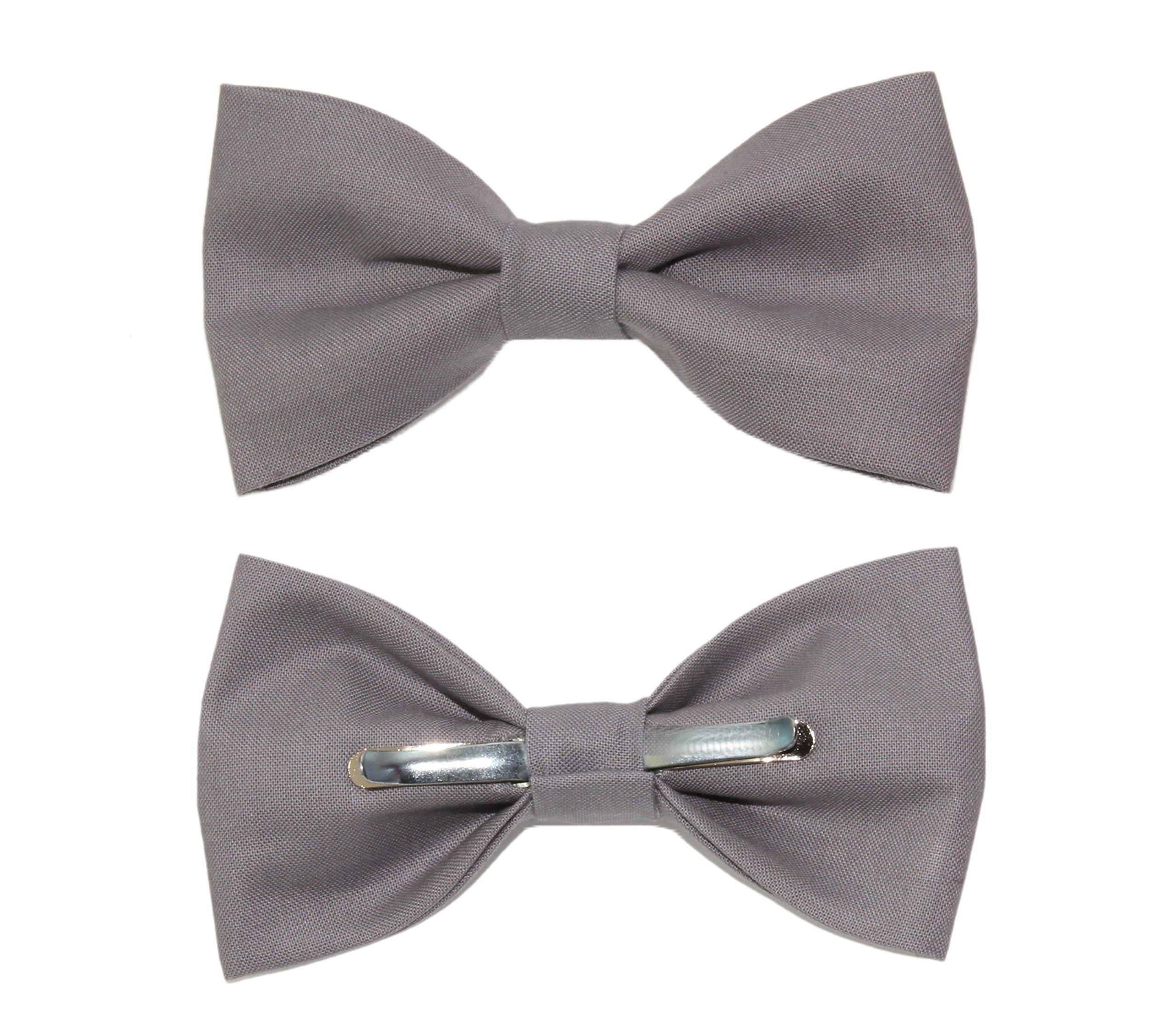 Men's Gray Clip On Cotton Bow Tie