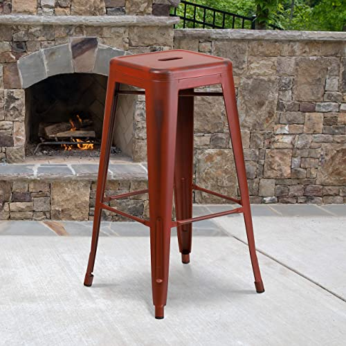 Best outdoor bar stool: Flash Furniture Commercial Grade 4 Pack 30″ High Backless Distressed Kelly Red Metal Indoor-Outdoor Barstool