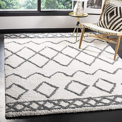 Safavieh Equinox Shag Collection EQS711A Handmade Area Rug, 8 x 10 , Cream Grey