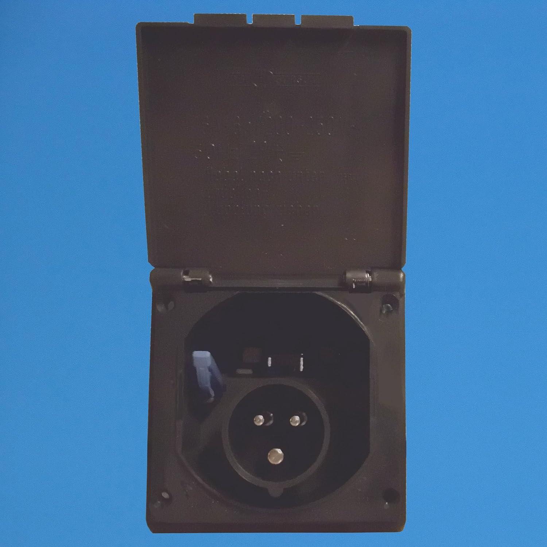 antracita Color empotrable Conector Toma Corriente Conector Toma de corriente einspeisungs enchufe conector lata CEE enchufe para caravanas caravanas o