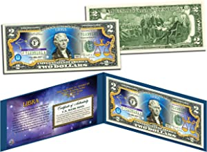 LIBRA Horoscope Zodiac Genuine Legal Tender Colorized U.S. $2 Bill