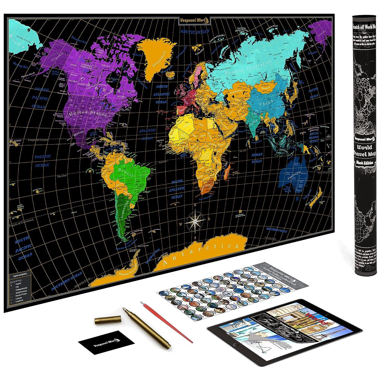 World Map w/ Scratch Off Ink by VespucciWorld (24x36\