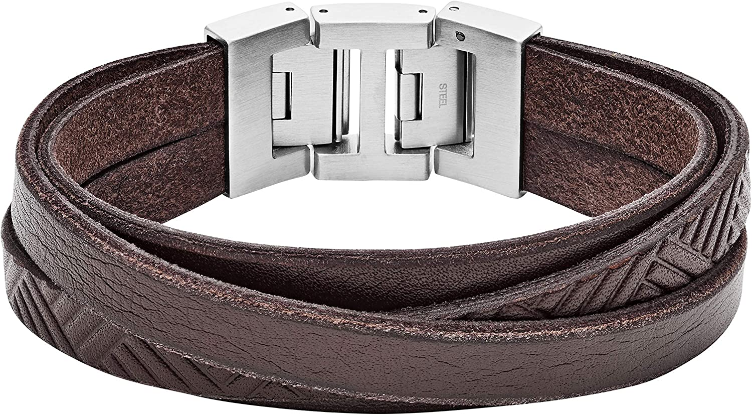 Fossil Vintage Casual Textured Brown Leather Wrist Wrap Cuff Bracelet