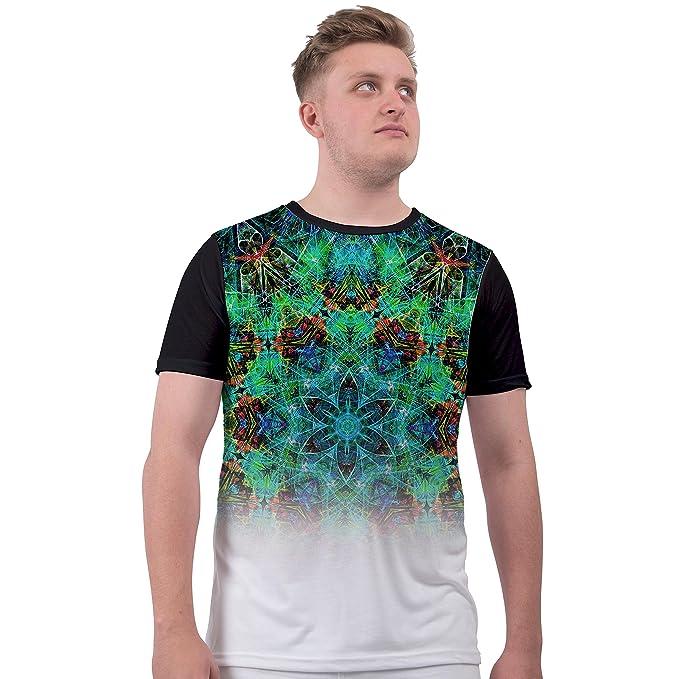 Camiseta de Hombre con Estampado Abstracto fusionado por sublimación en Blanco Talla M para Vacaciones y Festivales: Amazon.es: Ropa y accesorios
