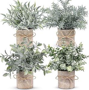 WUKOKU 4 pcs Small Fake Plants Mini Artificial Potted Plants for Farmhouse Office Bathroom Home Decor Indoor