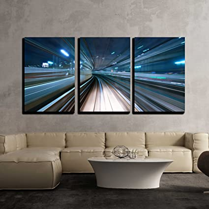 Amazon.com: wall26 - 3 Piece Canvas Wall Art - Motion blur of a city ...