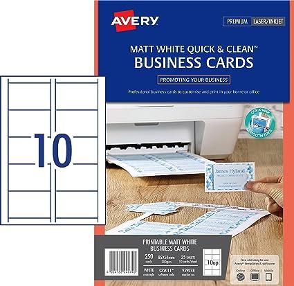 Amazon Com Avery C32011 25 Printable Single Sided Business Cards
