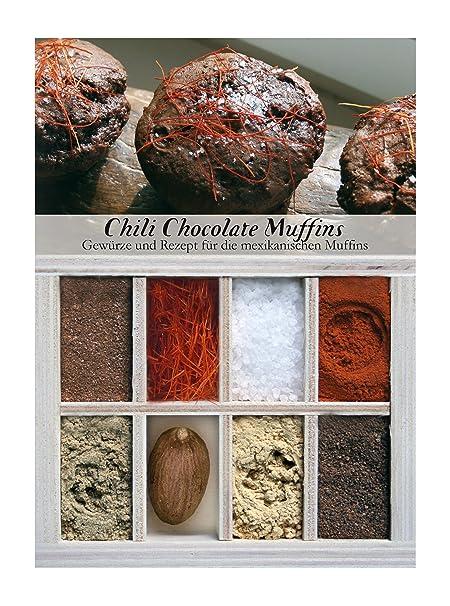 Chili Chocolate Muffins – 8 Gewürze für die mexikanischen Muffins (60g) – in einem schönen Holzkästchen – mit Rezept und Eink