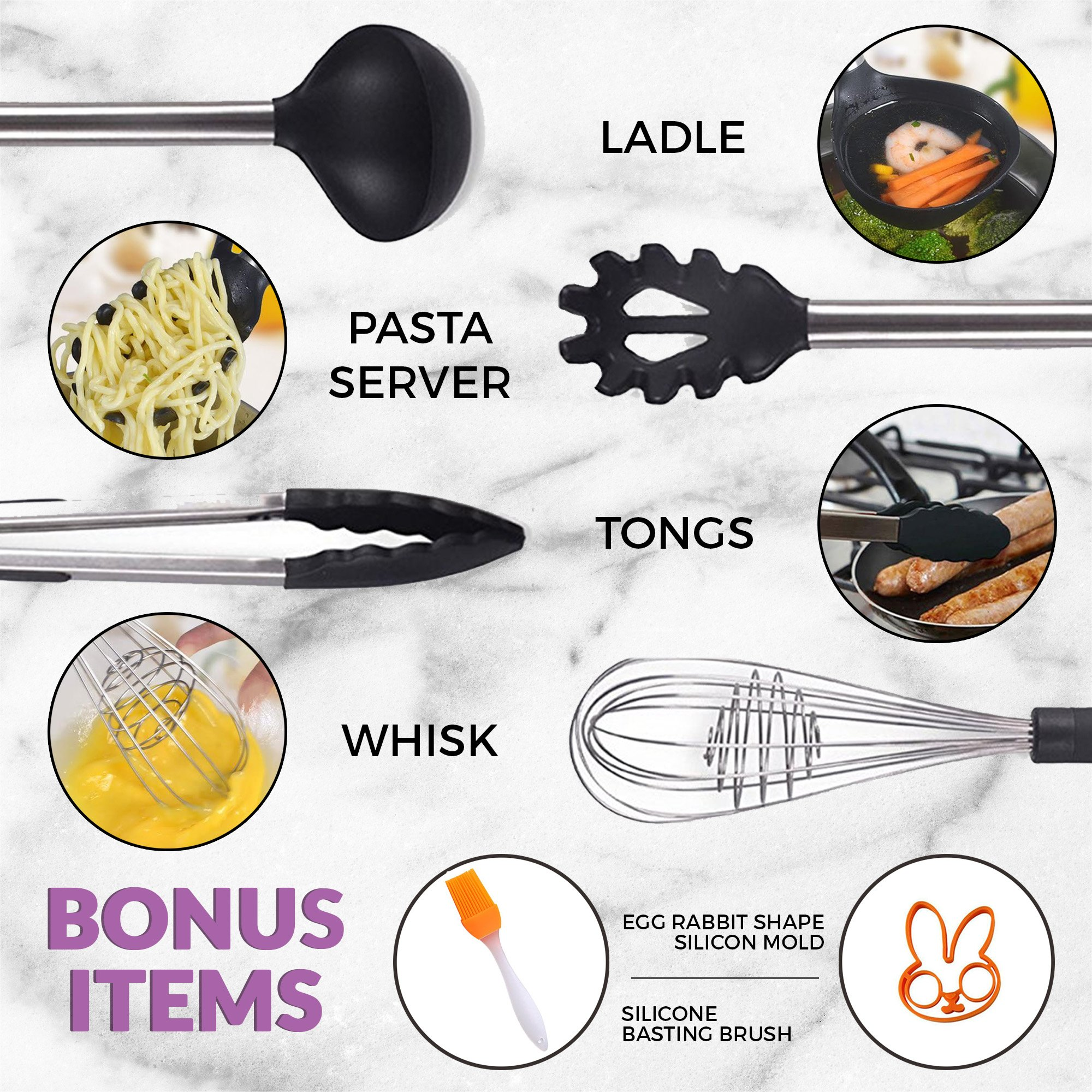 Kitchen Utensil 8 Set - Black Cooking Kit Manufactured with Metal Heavy Duty Stainless Steel and No Plastic BPA Free High Heat Resistant Silicone - Dishwasher Safe Utensils with Waterproof Handles by Black Belt Kitchen (Image #9)