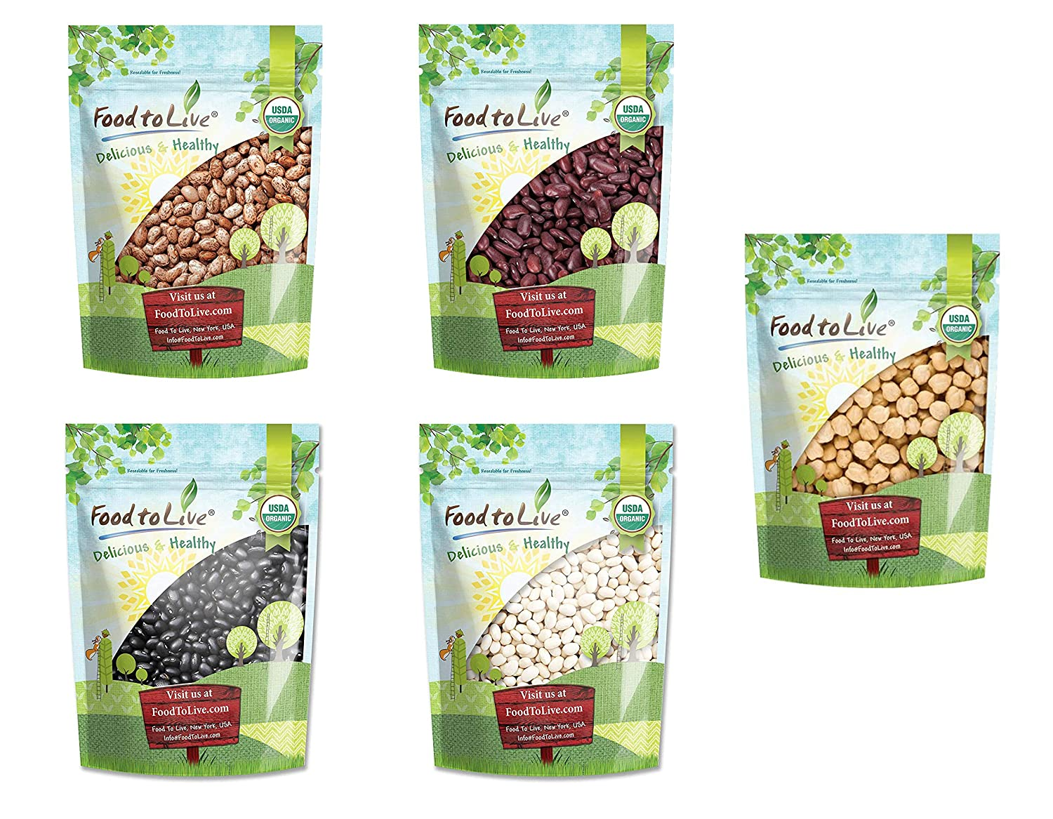 Organic Beans in a Gift Box - A Variety Pack of Pinto Beans, Dark Red Kidney Beans, Black Beans, Navy Beans, Garbanzo Beans