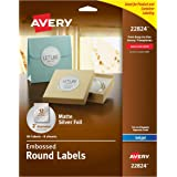 "Avery Easy Peel Embossed Matte Silver Foil Round Labels, 2"" Diameter, Pack of 96 (22824)"