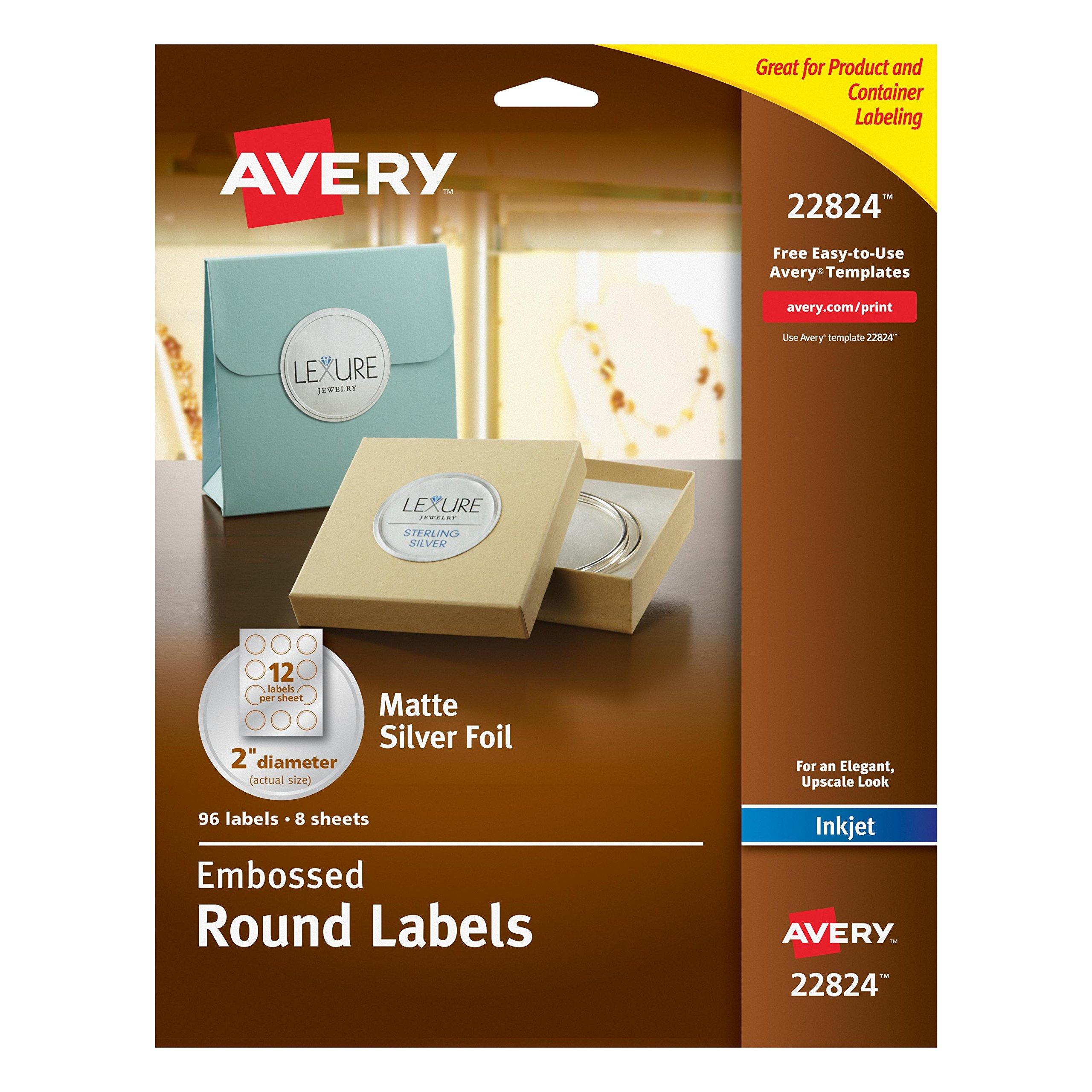Avery Easy Peel Embossed Matte Silver Foil Round Labels, 2'' Diameter, Pack of 96 (22824)