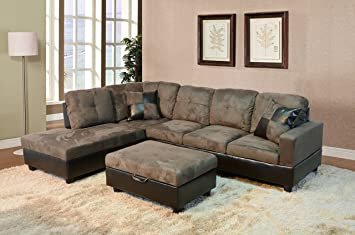 Beverly Fine Furniture F102A Andes Microfiber With Faux Leather Sofa Set  With Ottoman, Taupe