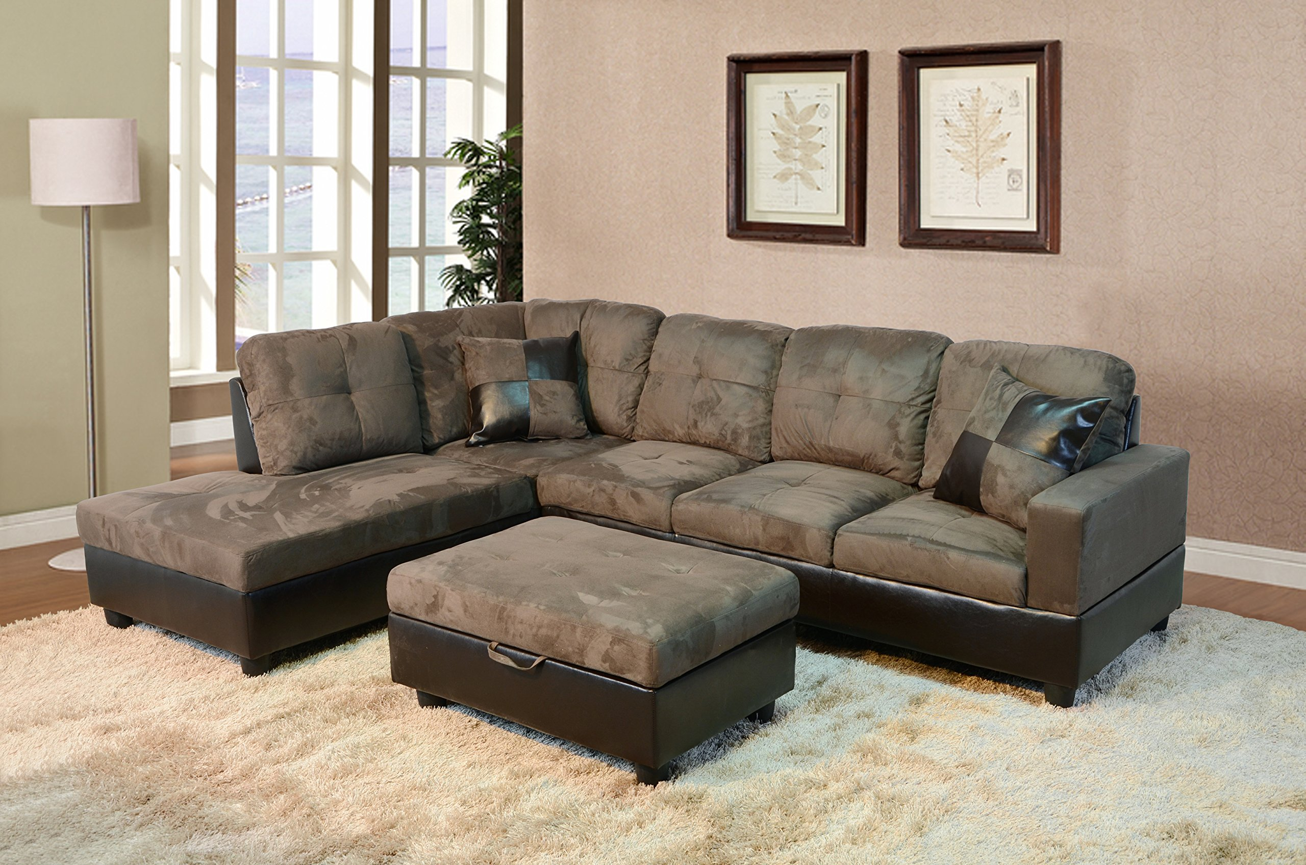 Galleon beverly furniture 3 piece microfiber and faux for Microfiber faux leather 3 piece sectional sofa set