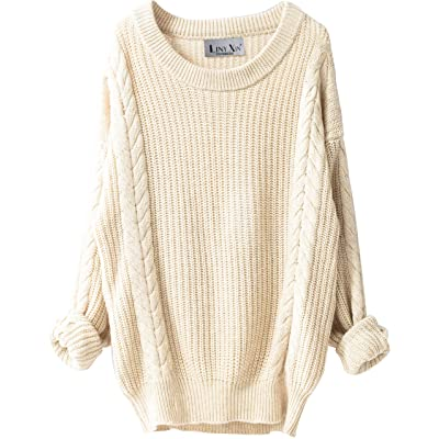 Liny Xin Women's Cashmere Oversized Loose Knitted Crew Neck Long Sleeve Winter Warm Wool Pullover Long Sweater Dresses Tops (Beige) at Women's Clothing store