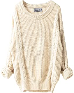 d0635547a0d1b Liny Xin Women's Cashmere Oversized Loose Knitted Crew Neck Long Sleeve  Winter Warm Wool Pullover Long